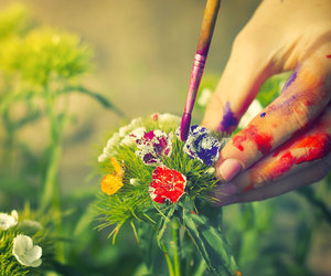 flowers, paint, and art image