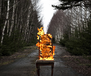 fire, chair, and forest image