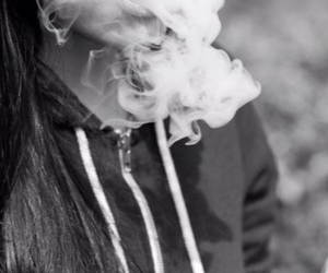 smoke, girl, and black and white image