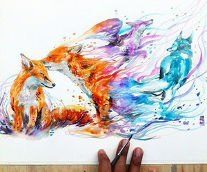 art, fox, and drawing image