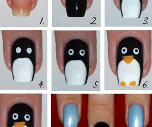 nails, penguin, and nail art image