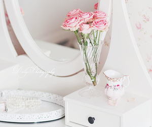 pastel, roses, and white image