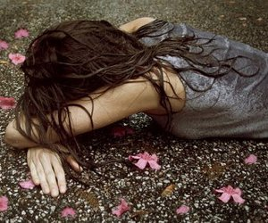 flowers#girl#rain#sad# image