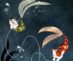cat, mermaid, and art image