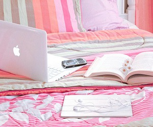pink, book, and bed image