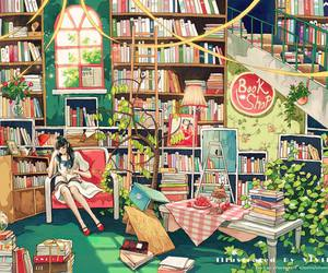 book, girl, and book shop image