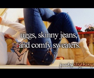 uggs, jeans, and sweater image
