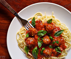 food, spaghetti, and meatballs image