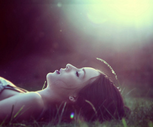 girl, grass, and light image