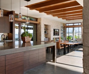 kitchen, sloping ceiling, and spacious kitchen table image