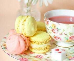 tea, flowers, and macaroons image