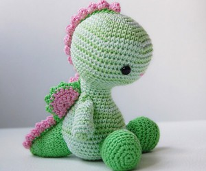 crafts, crochet, and dinosaur image