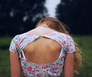 girl, back, and floral image