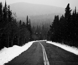 snow, black and white, and road image