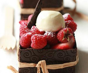 chocolate, food, and raspberry image