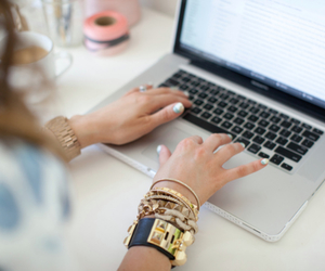 girl, accessories, and laptop image