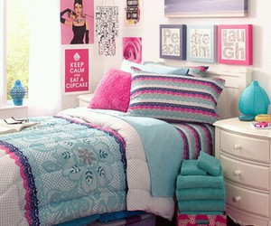 bedroom, room, and pink image