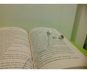 book, headphones, and white border image