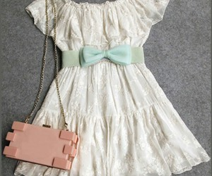 dress, purse, and sandals image