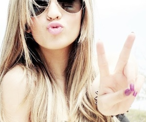 girl, peace, and sunglasses image