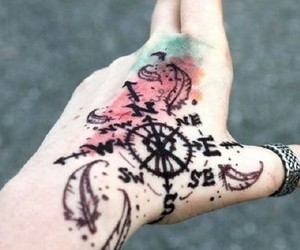 tattoo, compass, and hand image