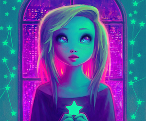 art, deviantart, and neon image
