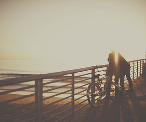 beach, bicycle, and pier image