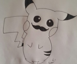 black & white, mustache, and pikachu image