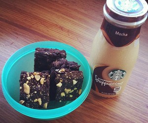 brownie, chocolate, and drink image