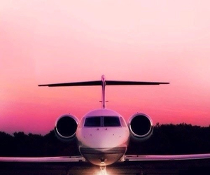 pink, plane, and sunset image