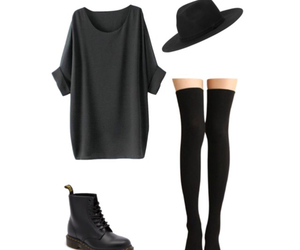 kneesocks, drmartens, and tshirtdress image