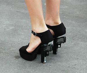shoes, gun, and heels image