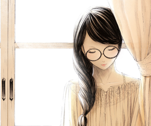 anime, book, and glasses image