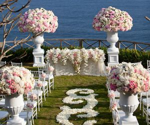 wedding, flowers, and sea image
