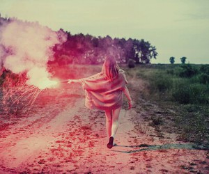 girl, fire, and fireworks image