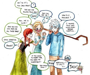 elsa, jack frost, and anna image