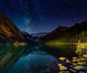 lake, milkyway, and mountain image