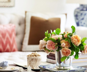 books, home, and flowers image