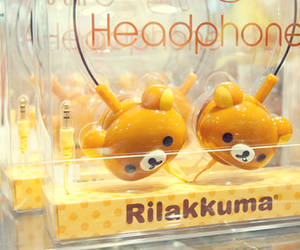 rilakkuma, headphone, and kawaii image
