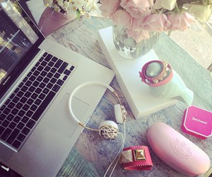 pink, laptop, and flowers image