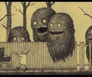 monster, creepy, and drawing image