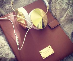 gold, headphones, and Michael Kors image