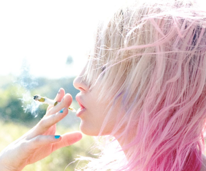 girl, pink hair, and cigarette image