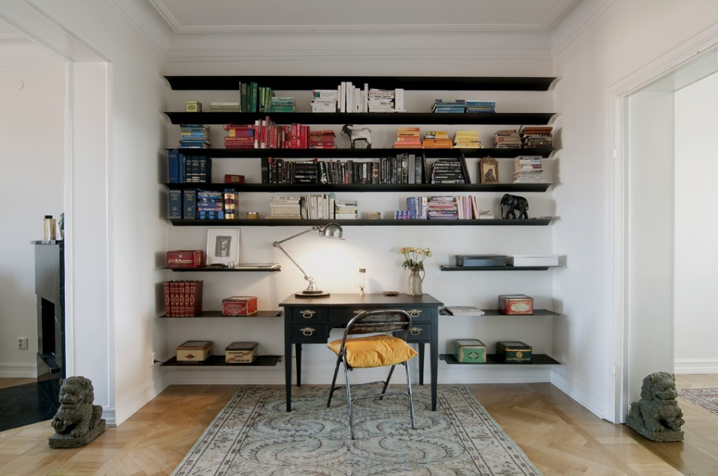 exceptional minimalist wall mounted book with black color and study or work table feat modern stand lamp inspirations of unique and creative wall shelves - Bookshelves Wall Mounted