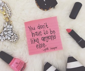 quote, be yourself, and makeup image