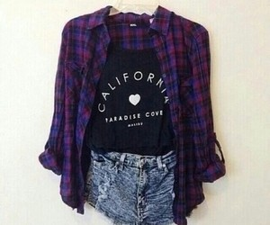 outfit, shorts, and flannel image
