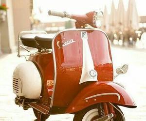 Vespa, red, and vintage image