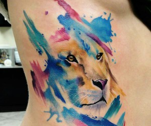 tattoo, lion, and watercolor tattoo image