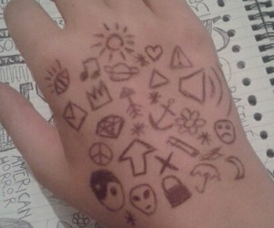 doodles, hand, and tats image
