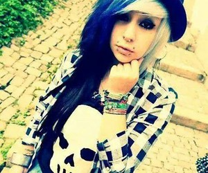 alternative, Piercings, and blue image